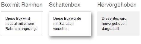 Box-Varianten: Darstellung in der Website