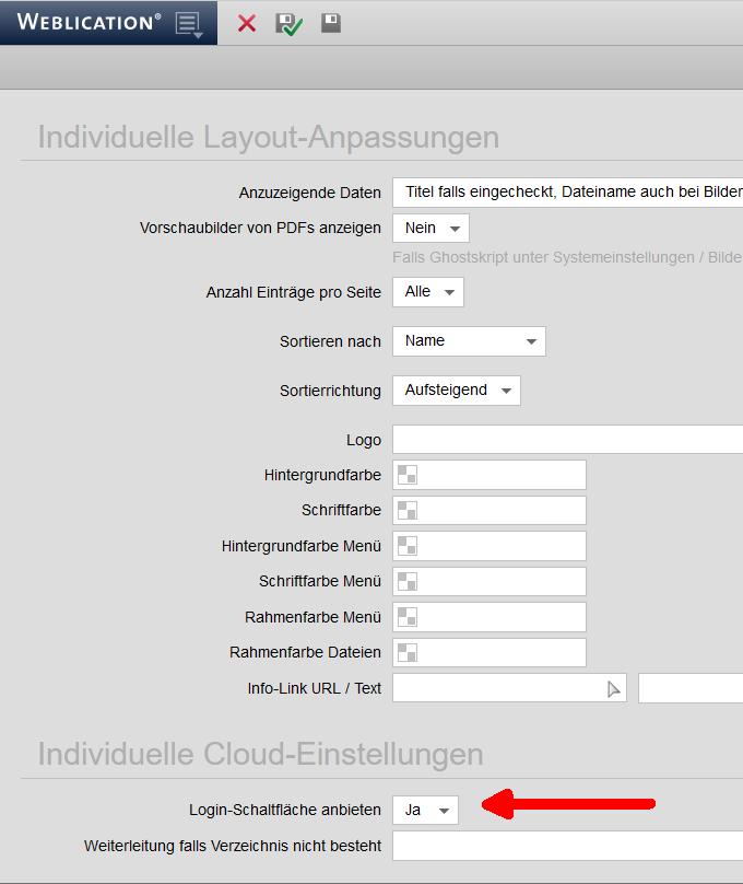 CLOUD: Web-Ansicht - Anmeldebutton anbieten