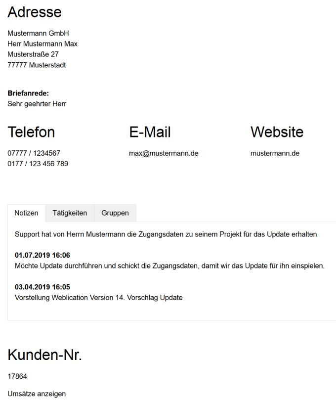 Seitendarstellung des Adressen-Objekt-Datensatzes