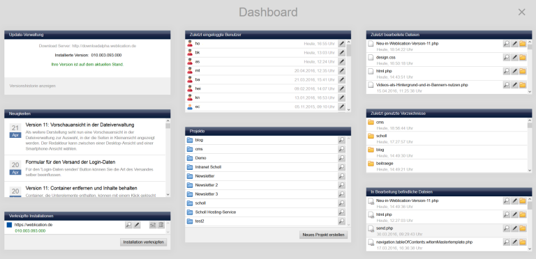 Dashboard in Browse & Edit