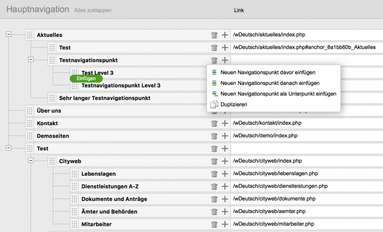Neuer Navigationseditor in Weblication Version 12